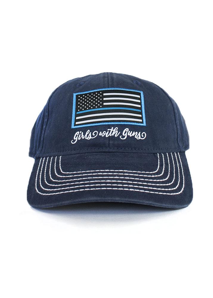 c96b4060491fd5 Thin Blue Line Vintage Trucker Hat   Navy - Girls With Guns