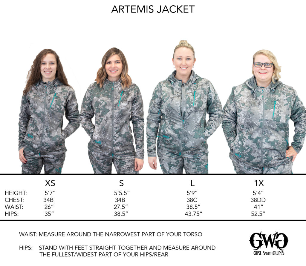 Size Chart for GWG Artemis Jacket