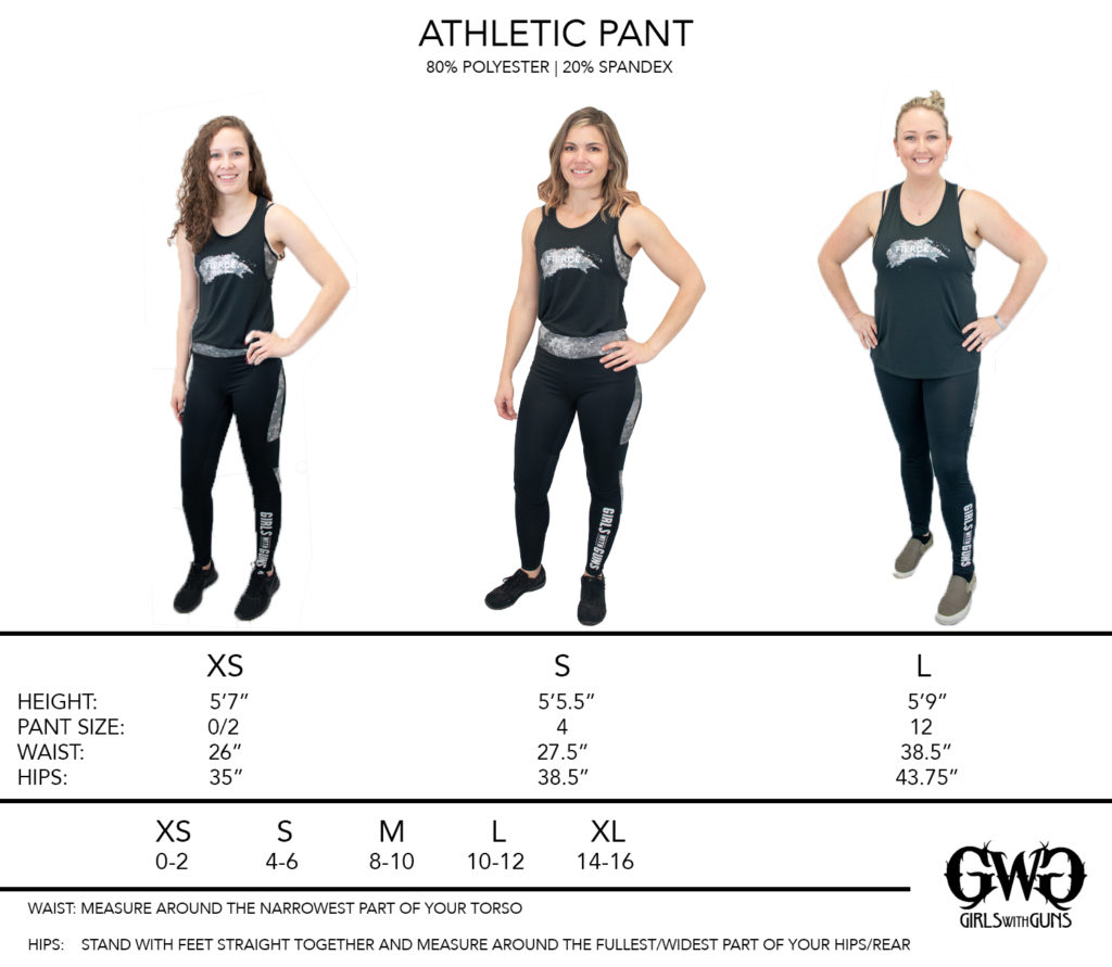 Size Chart for Athletic Pants