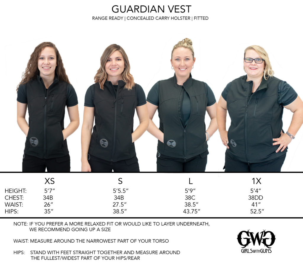 Size Chart for Guardian Vest
