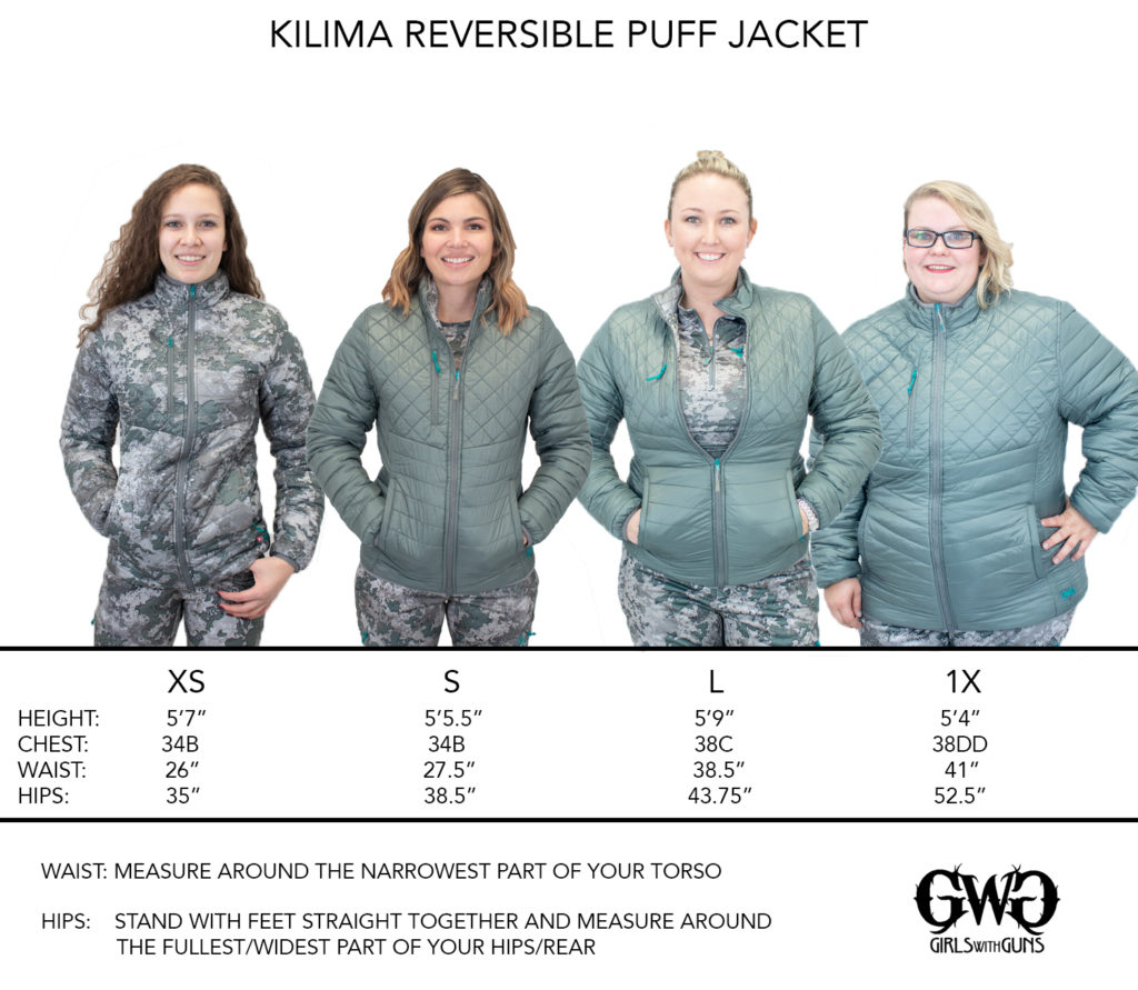 Size Chart for Kilima Reversible Puff Jacket