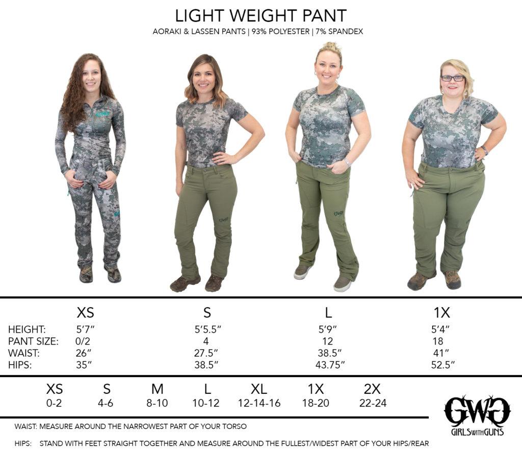 Size Chart For Artemis Pants