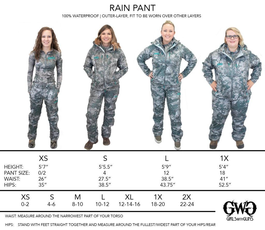 Size Chart for Rain Pants