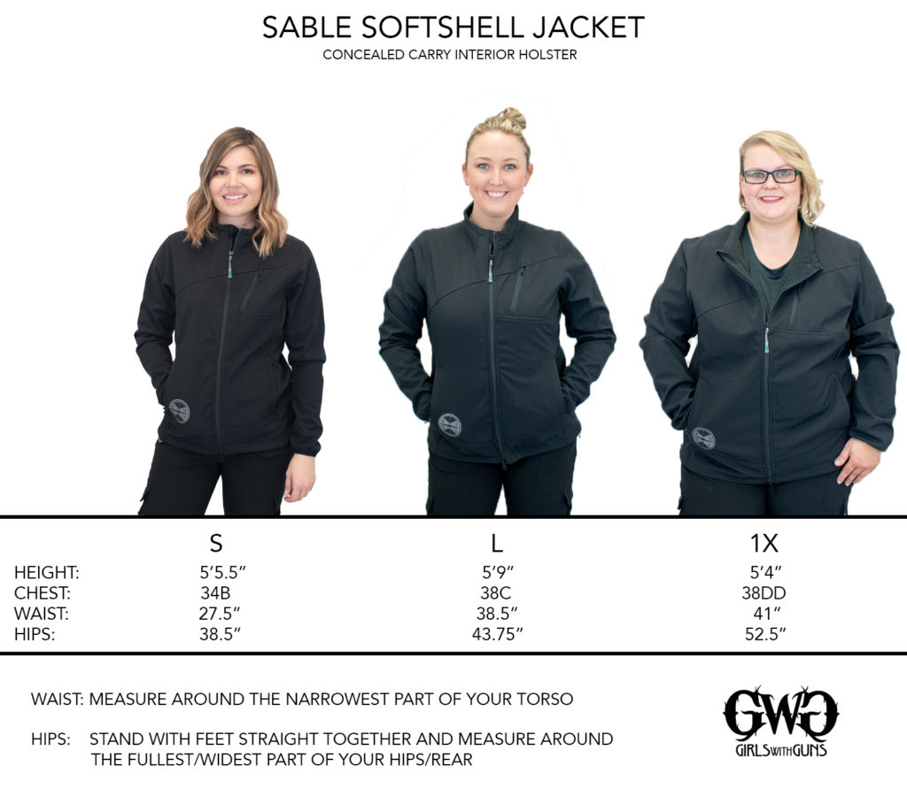 Size Chart for Sable Softshell Jacket