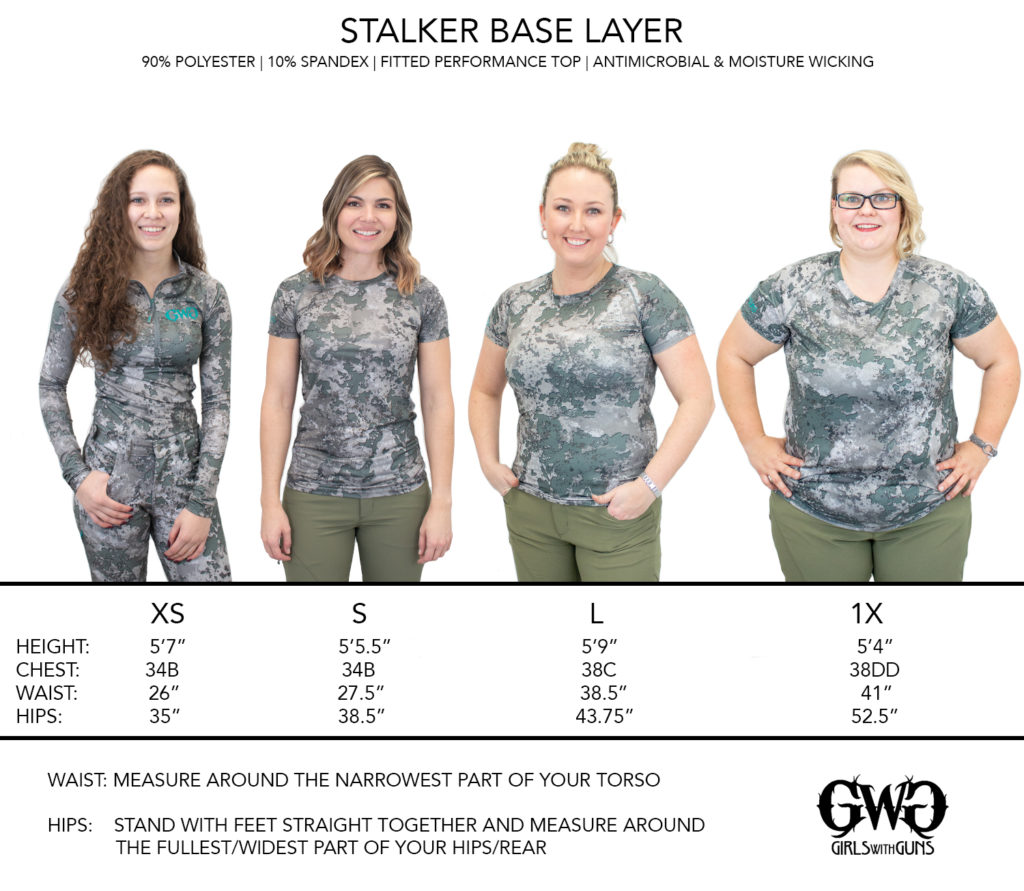 Size Chart for Stalker Performance Tee