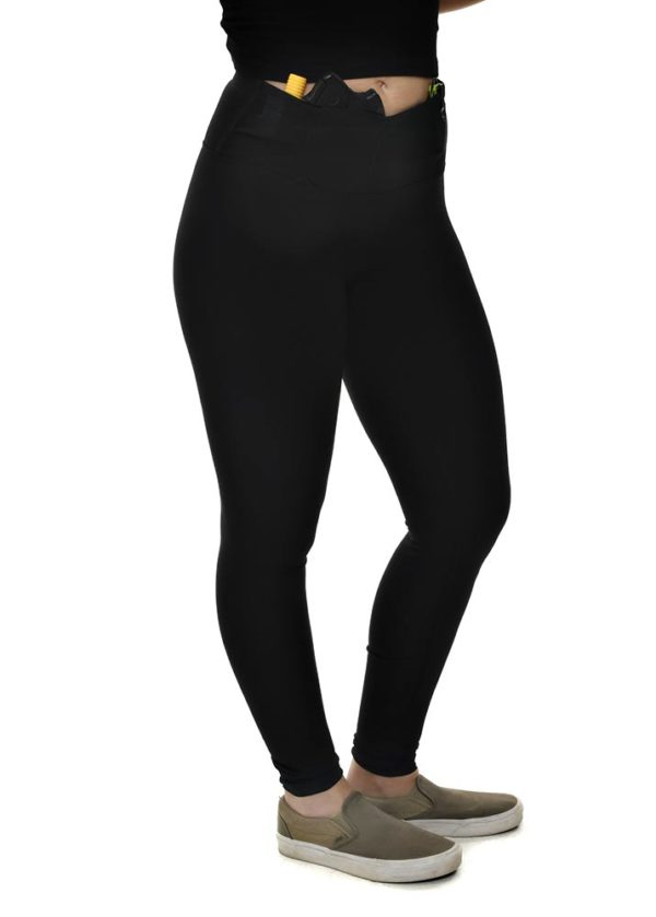 Defender Conceal Carry Black Leggings - Right Side View