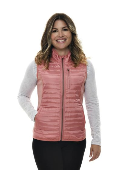 Primitive Puffer Vest Dusty Rose - Front View