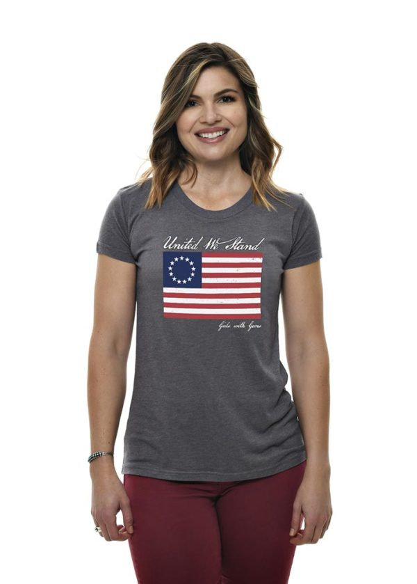 Betsy Ross Tee in Heather Gray by Girls with Guns