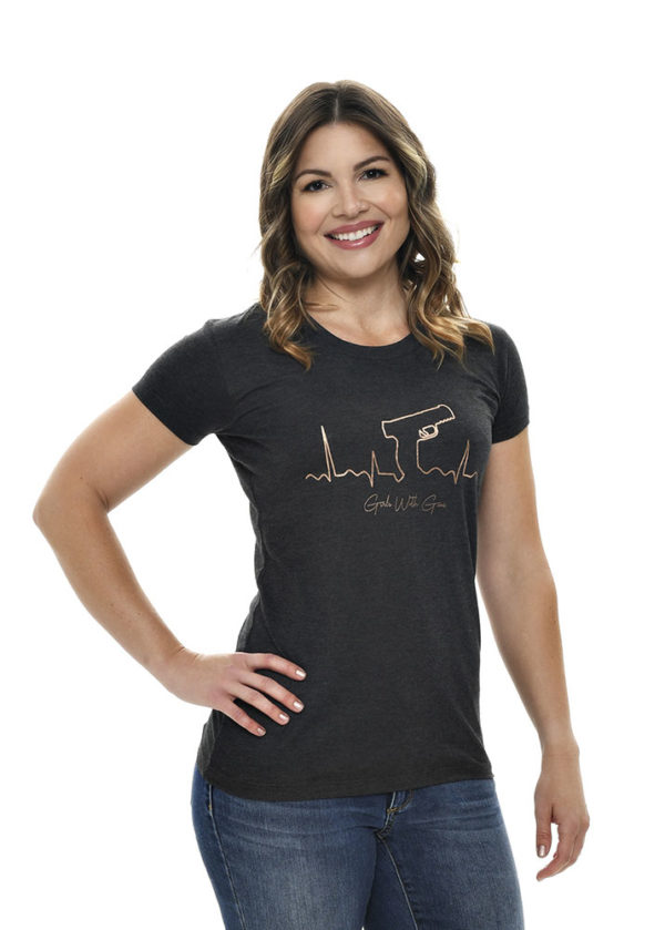 Gunbeat Tee by Girls with Guns in Charcoal