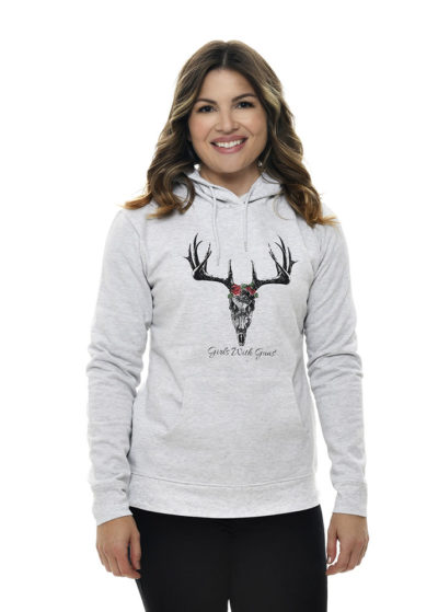 Horns and Roses Hoodie in White by Girls with Guns