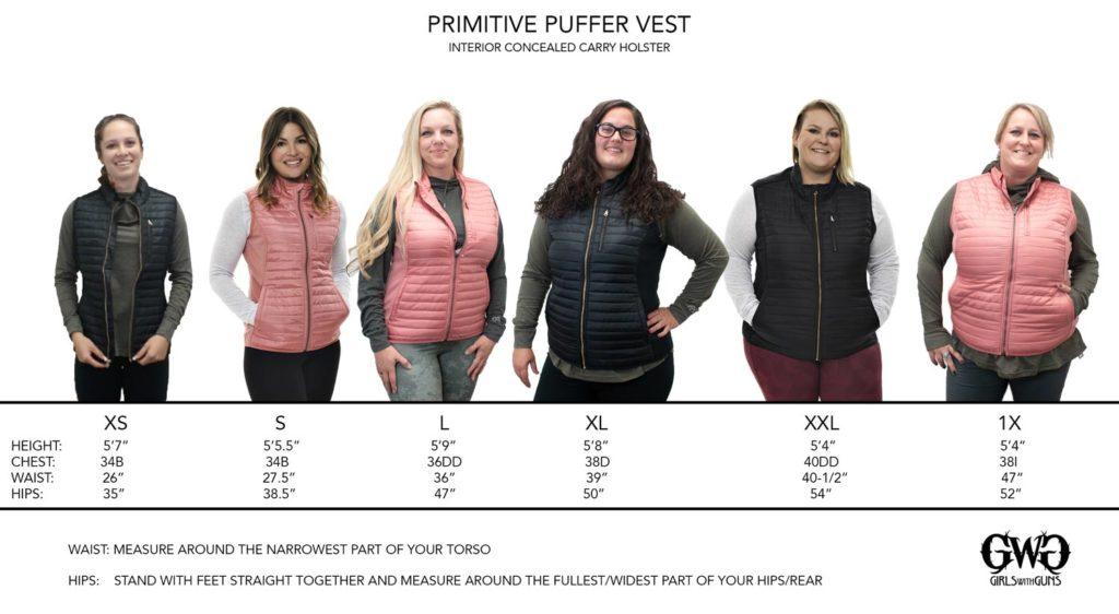 Primitive Puffer Vest Size Chart