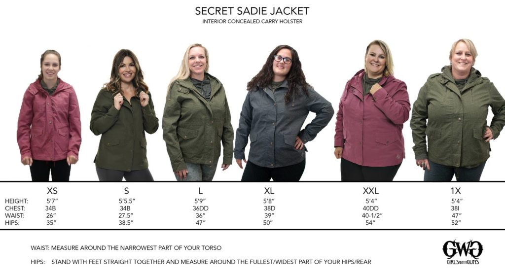 Secret Sadie Size Chart