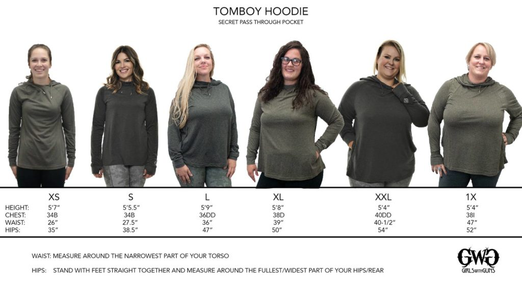 Size Chart for Tomboy Hoodie
