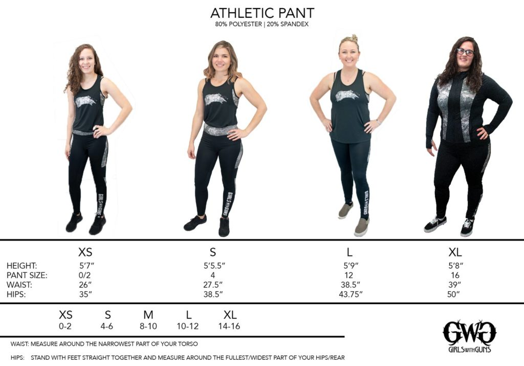 Size Chart for GWG Athletic Pants